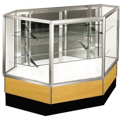 "Sturdy Store Displays Streamline 38"" x 42"" Full Vision Inside Corner Showcase with Mirror Back"