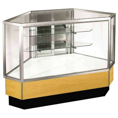 "Sturdy Store Displays Streamline 38"" x 34"" Full Vision Outside Corner Showcase with Panel Back"