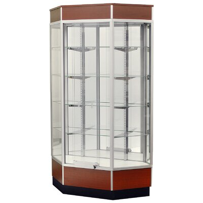 "Sturdy Store Displays Streamline 34"" x 15"" Front Opening Inside Corner Trophy Case with Glass Back"