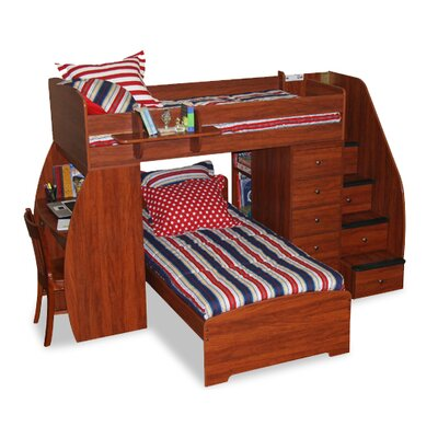 berg sierra twin space saver l shaped bunk bed with desk and stairs reviews wayfair. Black Bedroom Furniture Sets. Home Design Ideas