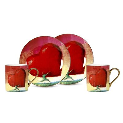 PS Collection All Heart 3 oz. Espresso Cup and Saucer