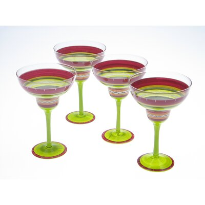 Certified International Hot Tamale Hand Painted Margarita Glass (Set of 4)