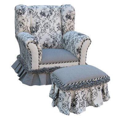 Angel Song Toile Child's Wingback Chair and Ottoman Set