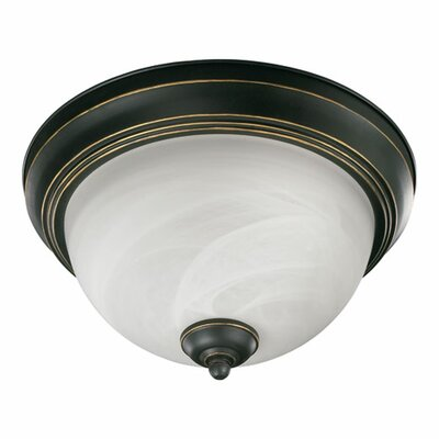 Quorum Flush Mount Faux Alabaster Glass