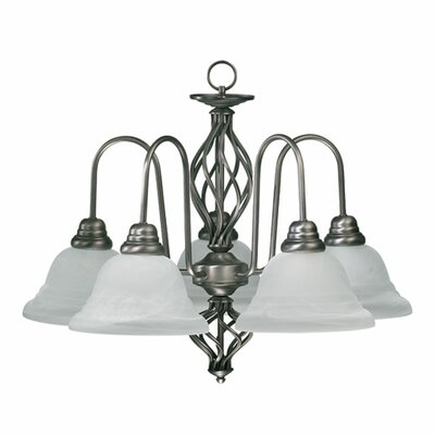 Quorum Juliette 5 Light Chandelier in Antique Silver