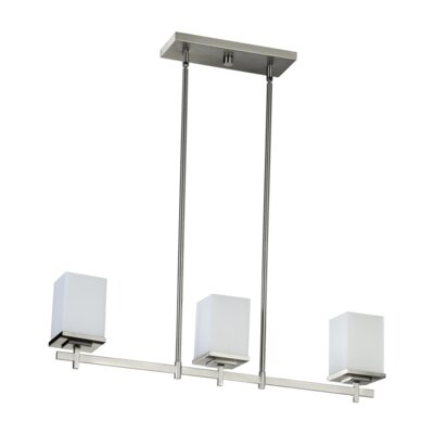 Delta 3 Light Kitchen Island Light in Satin Nickel