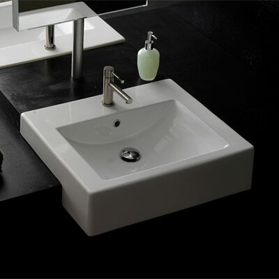 Scarabeo by Nameeks Square Semi Recessed Single Hole Bathroom Sink in White