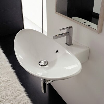 Scarabeo by Nameeks Zefiro 70/R Wall Mounted or Above Counter Bathroom Sink in White