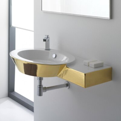 Scarabeo by Nameeks Wish Wall Mount Bathroom Sink with Right Counter