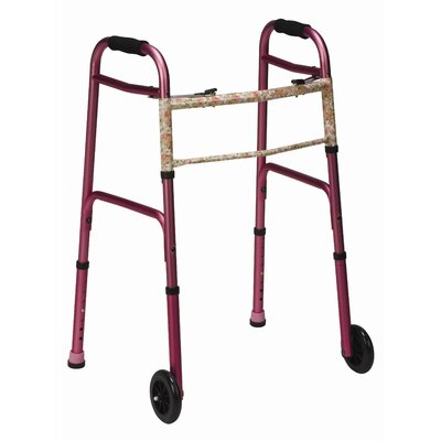 Briggs Healthcare Button Release Aluminum Folding Walker with Non-Swivel Wheels