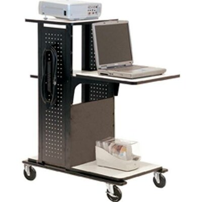 H. Wilson Company 4-Shelf Mobile Presentation Station in Black / Gray