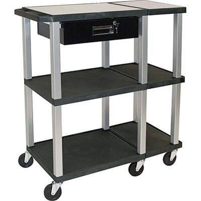 H. Wilson Company Presentation Station Open Shelf with Nickel Legs