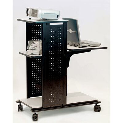 H. Wilson Company 4-Shelf Presentation Station with Cabinet in Black / Gray