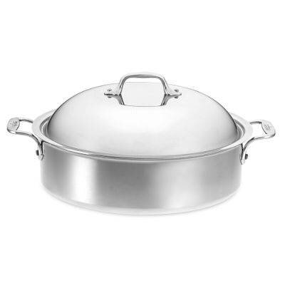 Stainless Steel 6-Qt. Round French Braiser with Lid & Rack