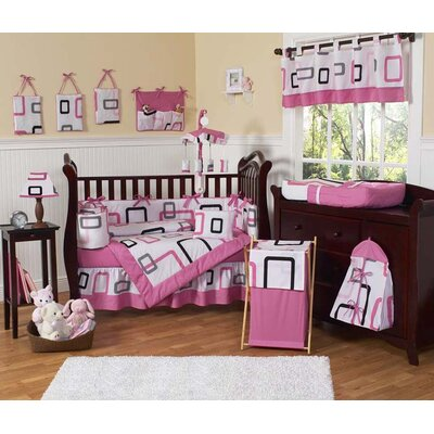 Sweet Jojo Designs Pink and Black Geo Crib Bedding Collection