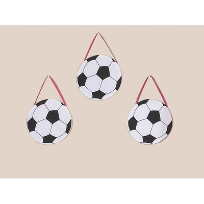Sweet Jojo Designs Soccer Pink Collection Wall Hangings (Set of 3)