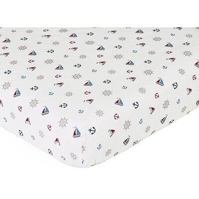 Sweet Jojo Designs Nautical Nights Collection Fitted Crib Sheet  - Nautical Nights Print