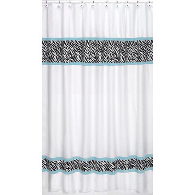 Sweet Jojo Designs Zebra Turquoise Collection Shower Curtain