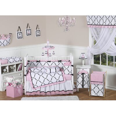 Sweet Jojo Designs Pink, Black and White Princess 9 Piece Crib Bedding Set