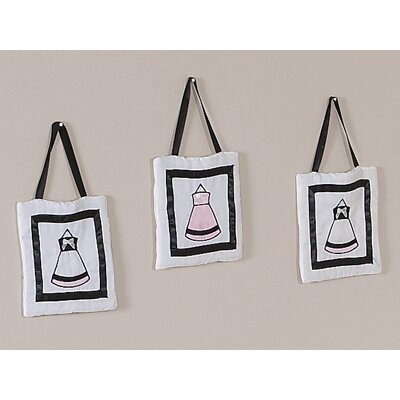 Sweet Jojo Designs Princess Black, White and Pink Collection Wall Hangings (Set of 3)