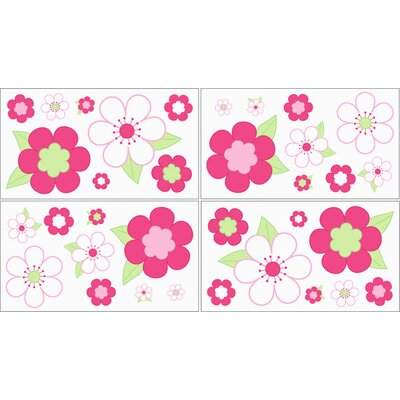 Sweet Jojo Designs Flower Pink and Green Collection Wall Decal Stickers