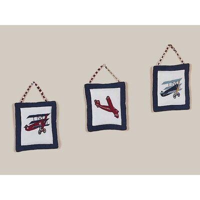 Sweet Jojo Designs Vintage Aviator Collection Wall Hangings 3 Piece Set