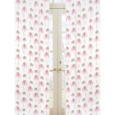 Sweet Jojo Designs Elephant Pink Cotton Rod Pocket Curtain Panel Pair with Valances
