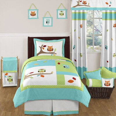 Hooty Turquoise and Lime Bedding Collection