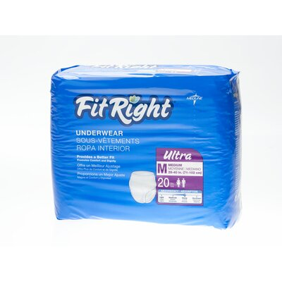 Medline FitRight Ultra Protective Underwear (Pack of 80)