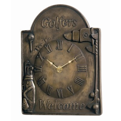 Golfers Welcome Clock in Antique Bronze