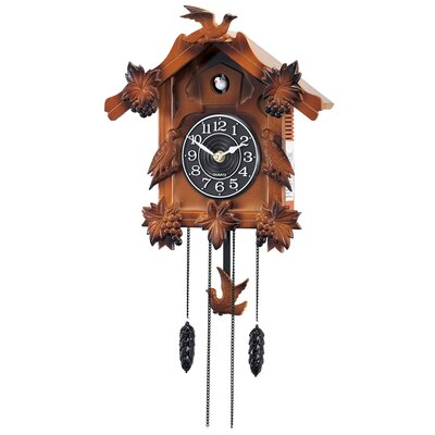New Haven Wooden Musical Cuckoo Clock with Pendulum in Solid Wood