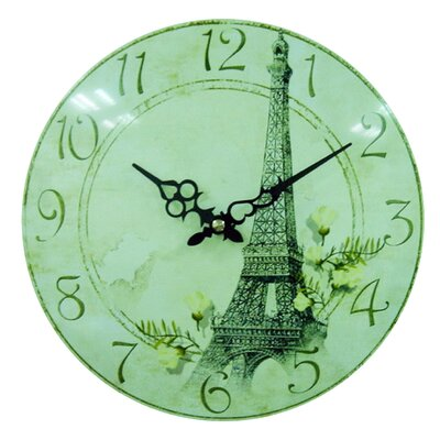New Haven Convexed Metal Eiffel Wall Clock in Distressed Antique Wood