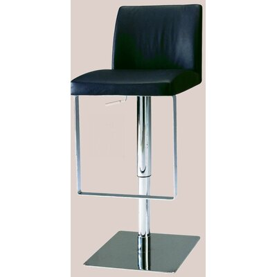 Chintaly Adjustable Swivel Stool with Upholstered Seat in White