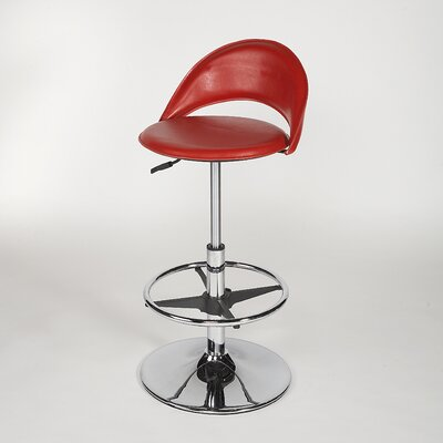 Chintaly Imports Adjustable Swivel Stool with Round Seat in Red