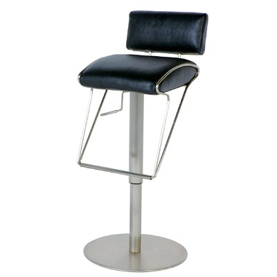 Adjustable Swivel Stool with Upholstered Back in Black