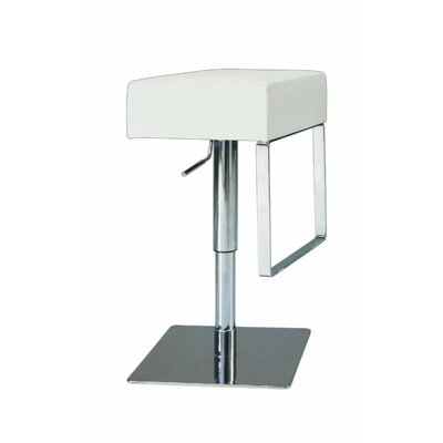 Chintaly Adjustable Backless Swivel Stool with Square Seat in White