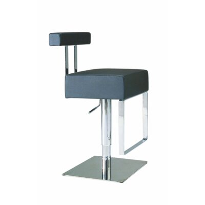 Adjustable Upholstered Swivel Stool in Black