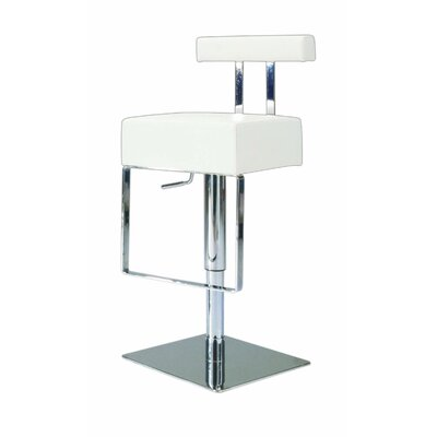 Adjustable Upholstered Swivel Stool in White