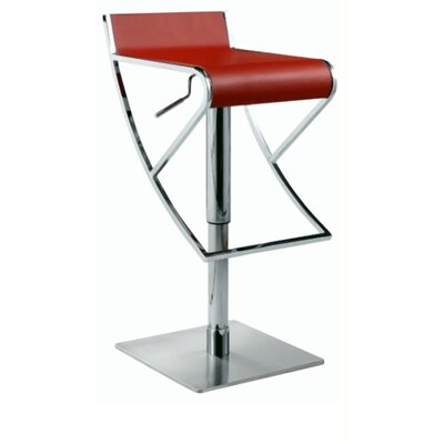 Adjustable Swivel Stool with Rectangular Seat in Red