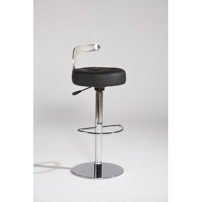 Chintaly Canal Adjustable Leather Swivel Stool in Black