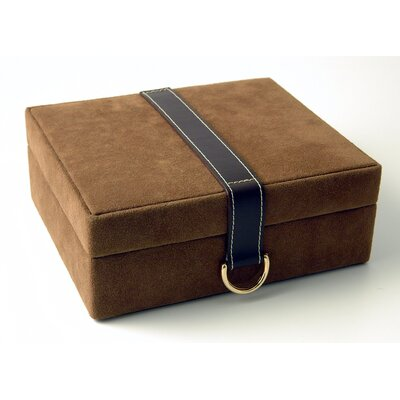 Budd Leather Faux Suede and Leather Jewelry Box with Concealed Compartment in Brown