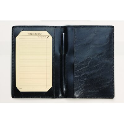 Budd Leather Buffalo Calf To Do Jotter with Pen in Black