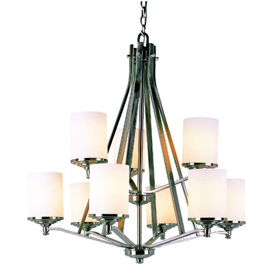 TransGlobe Lighting 9 Light Chandelier with Frosted Shade