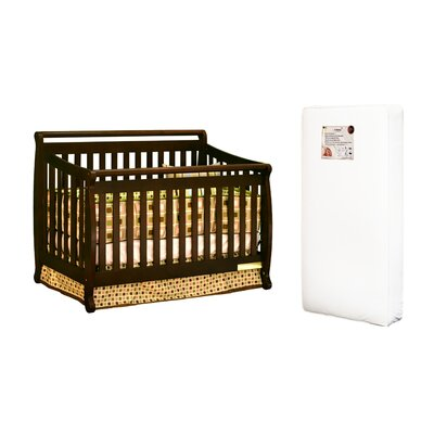 AFG Furniture Amy 3-in-1 Crib w/ Toddler Guardrail and 96-coil Mattress in Espresso
