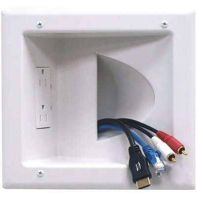DataComm Electronics Recessed Low Voltage Media Plate with Duplex Receptacle