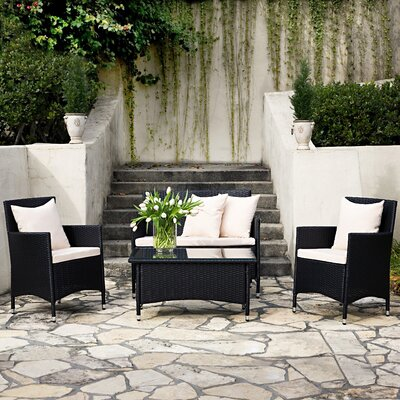 angelo:HOME Napa Estate Indoor/Outdoor 4 Piece Deep Seating Group with Cushion
