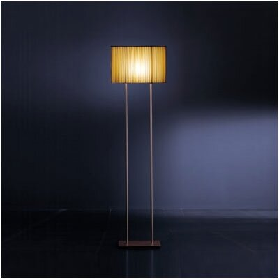 Zaneen Lighting Blissy Floor Lamp in Metallic Brown Finish with Amber Pleated Shade