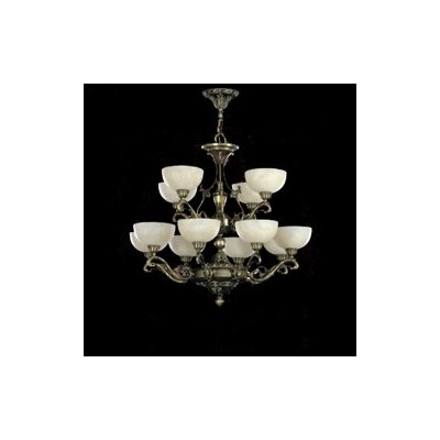 Zaneen Lighting Arana Twelve Light Traditional Chandelier in Dark English Bronze