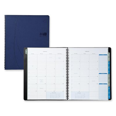 "Day-Timer® Monthly Planner,Notebook,2PPM,9-1/8""x11-1/8""x5/8"",Blue, 2014"