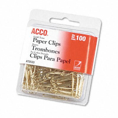 Acco Brands, Inc. Paper Clips, Wire, 100/Box